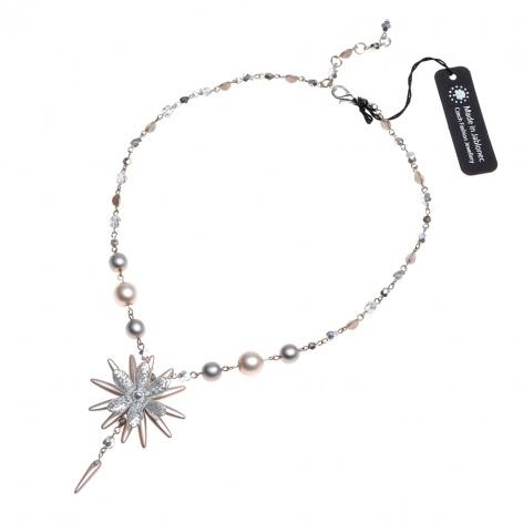 Náhrdelník Šitá květina ve stříbrnobéžové