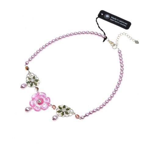 Náhrdelník Květina v růžové