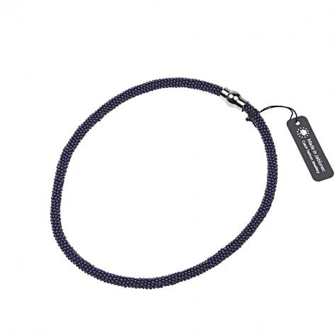 Náhrdelník Jednoduchý obtáčený indigo