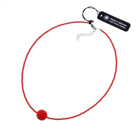 Náhrdelník Obšitá kulička červená sytá