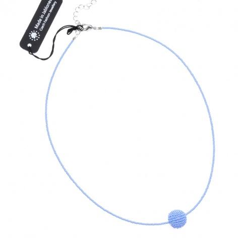 Náhrdelník Obšitá kulička sytá perleťově modrá