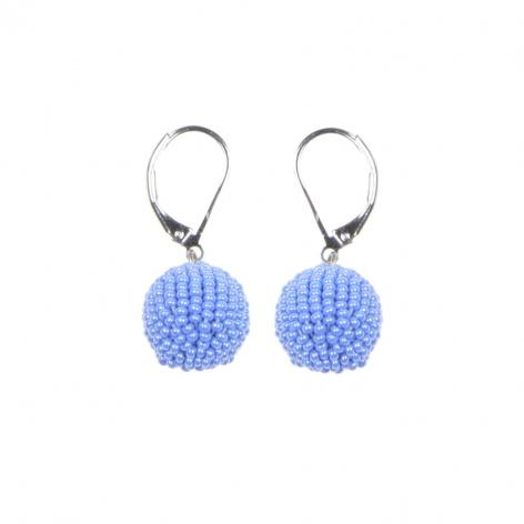 Náušnice Obšité kuličky sytá perleťově modrá